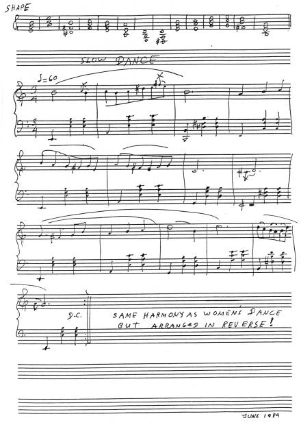 Manuscript for exercise, p. 123, in 'A Study of Piano Improvisation.'